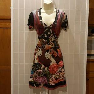 Desigual Japanese Kimono Geisha Printed Dress M